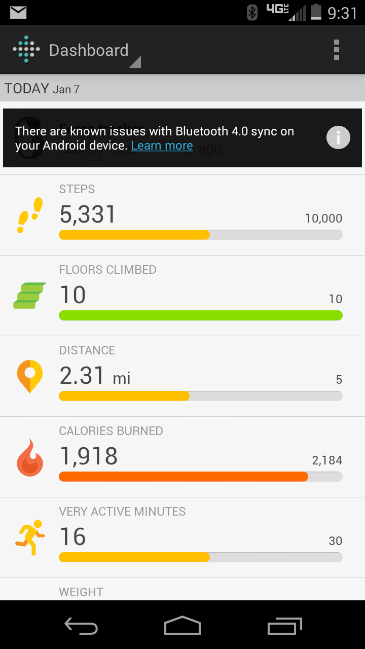 how to start fitbit android