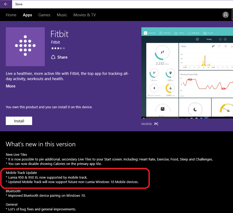 Solved: Microsoft Lumia 950 & 950 XL MobileTrack support - Fitbit