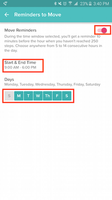 how to turn fitbit hourly notifications on