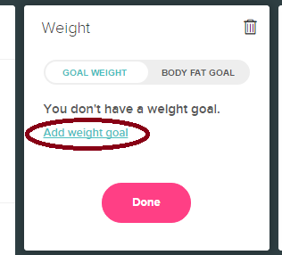 fitbit how to delete weight goal
