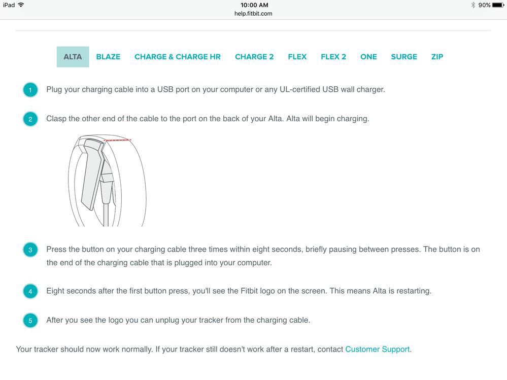 fitbit flex charging instructions