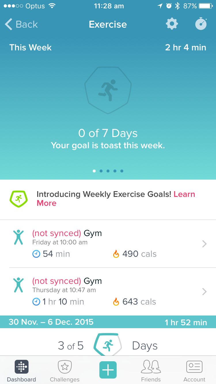 Logged exercise won't sync with Dashboard - Fitbit Community