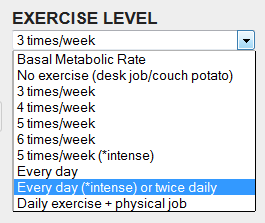 In my case, the calorie burn target set to me by Fitbit corresponds to the  Every day (*intense) or twice daily exercise level. I need about 18k steps  of ...
