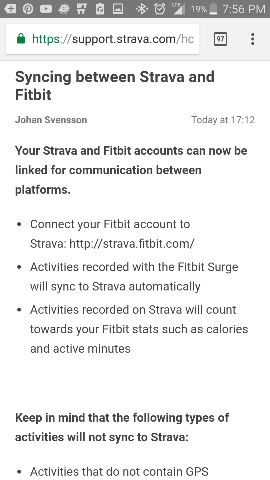Strava Fitbit syncing down? - Fitbit Community