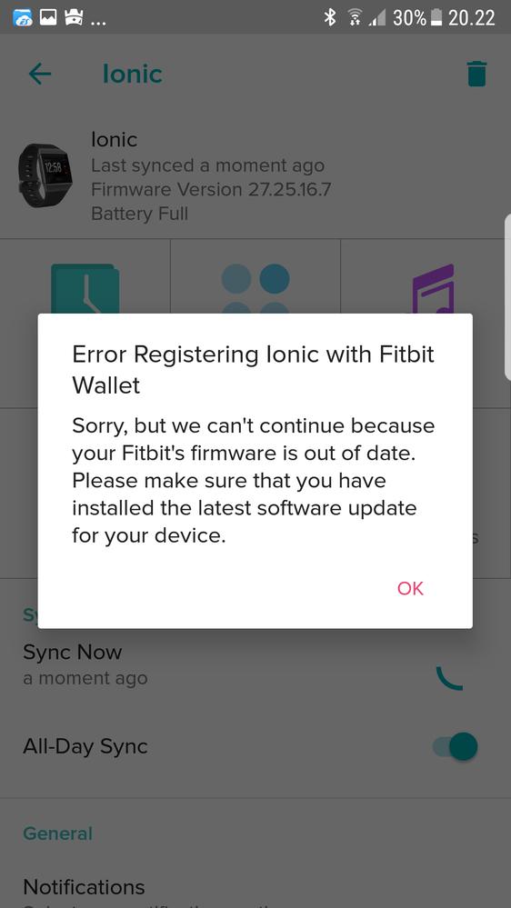 Solved: Wallet setup error - Fitbit Community