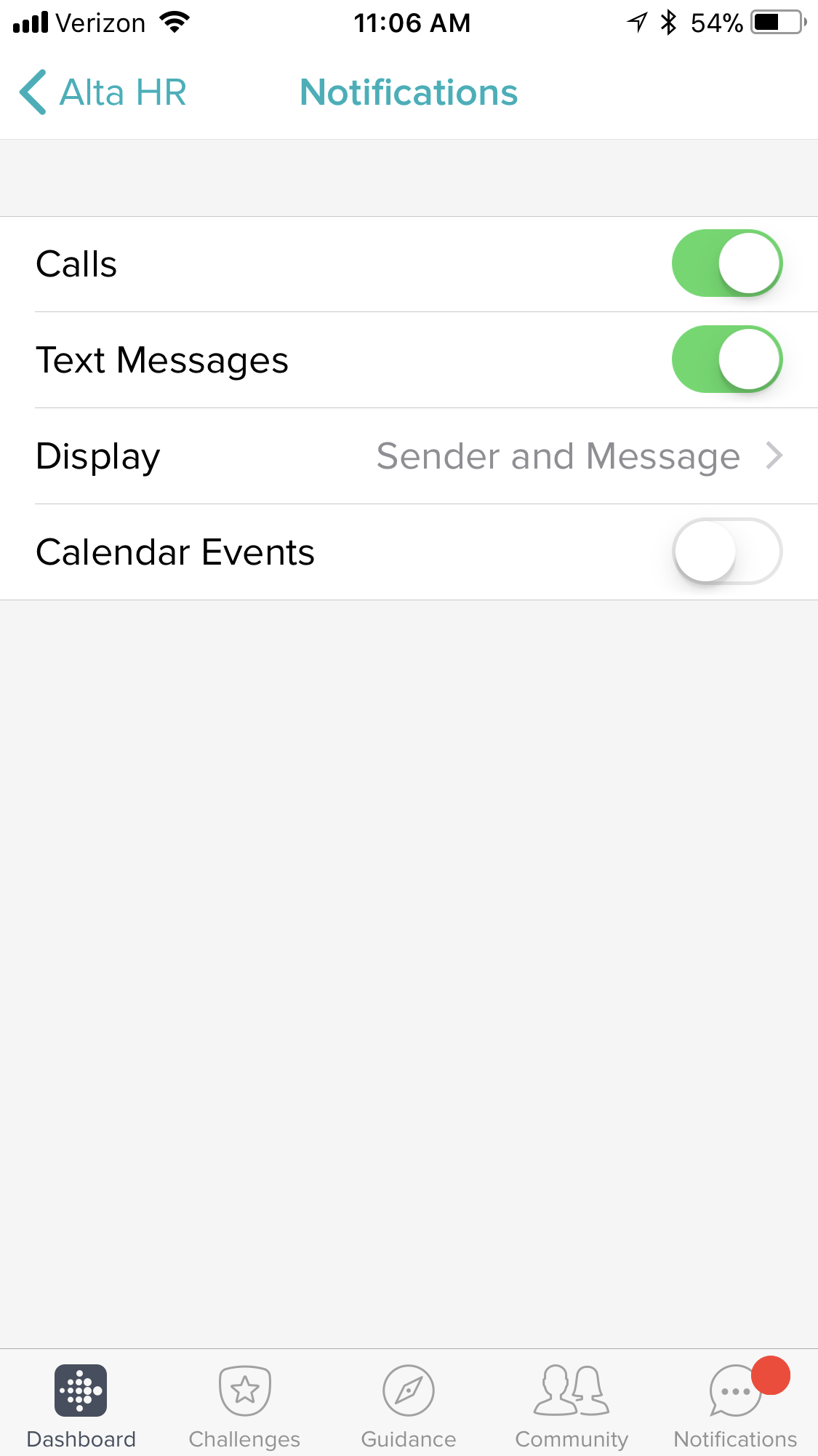 Solved: No Text Notifications on Alta HR after 11.1 update