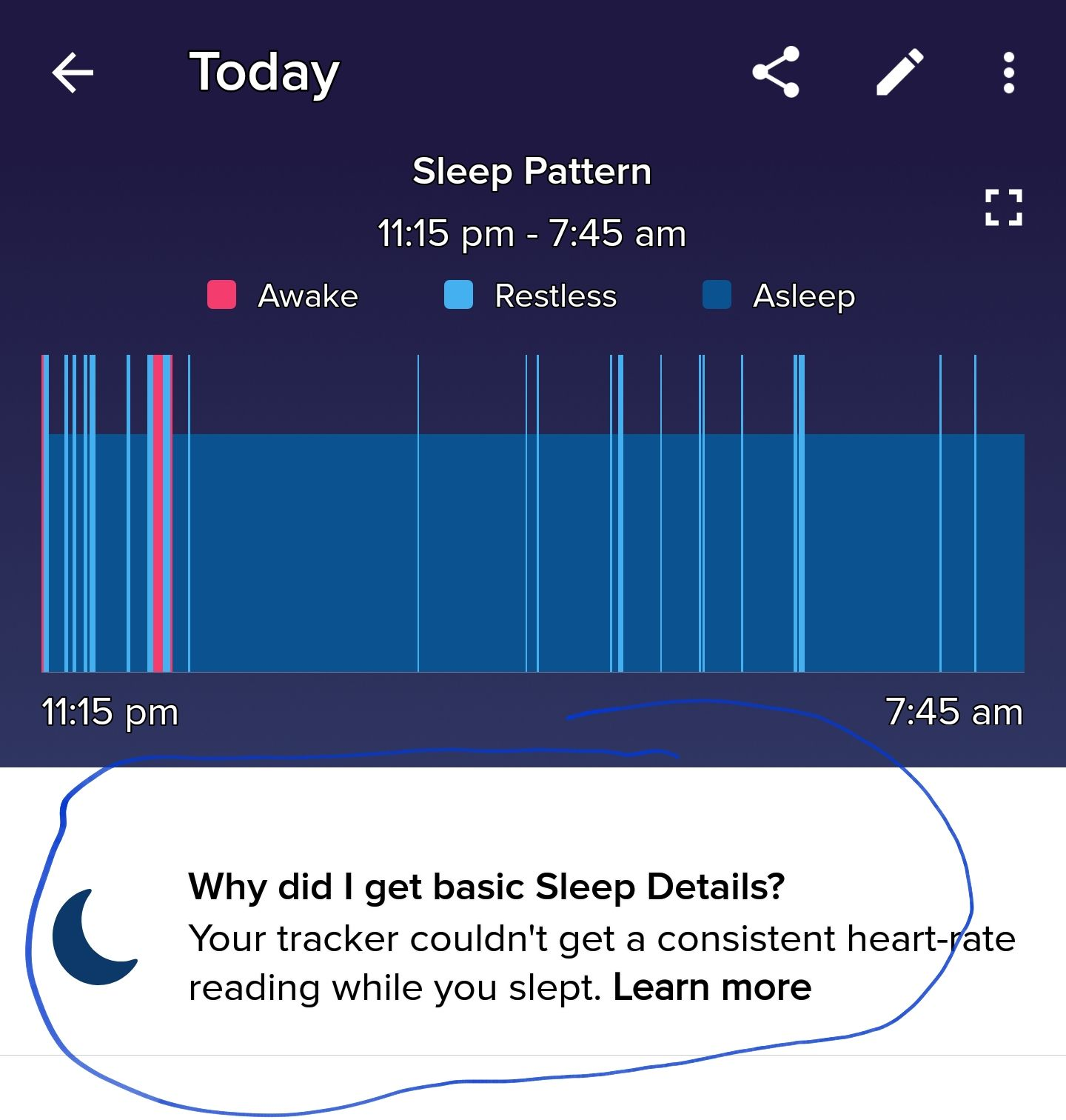 Visual result for Fitbit Versa 2 sleep monitoring