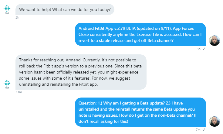 CRASH: Android FitBit App v 2 79 BETA | Updated on    - Fitbit Community