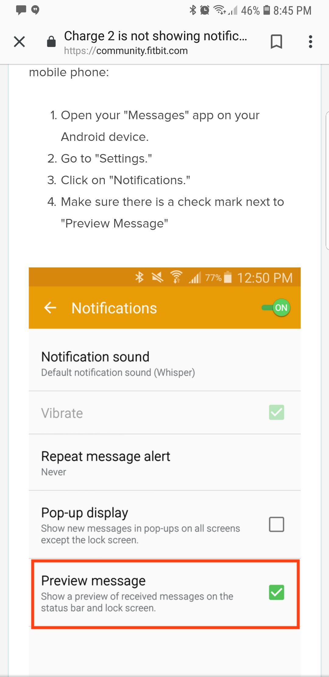 Text notifications issues with Galaxy S9 - Fitbit Community