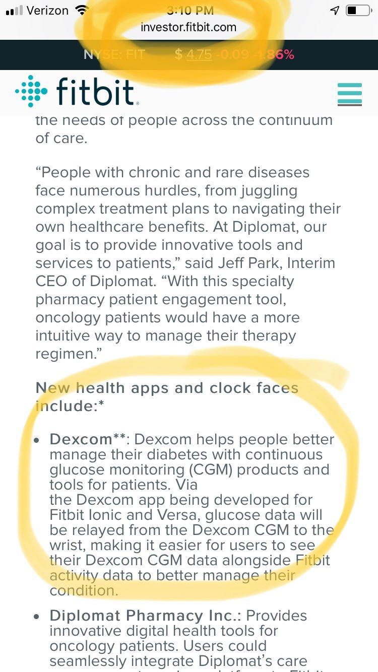 Dexcom G6 integration - Page 3 - Fitbit Community