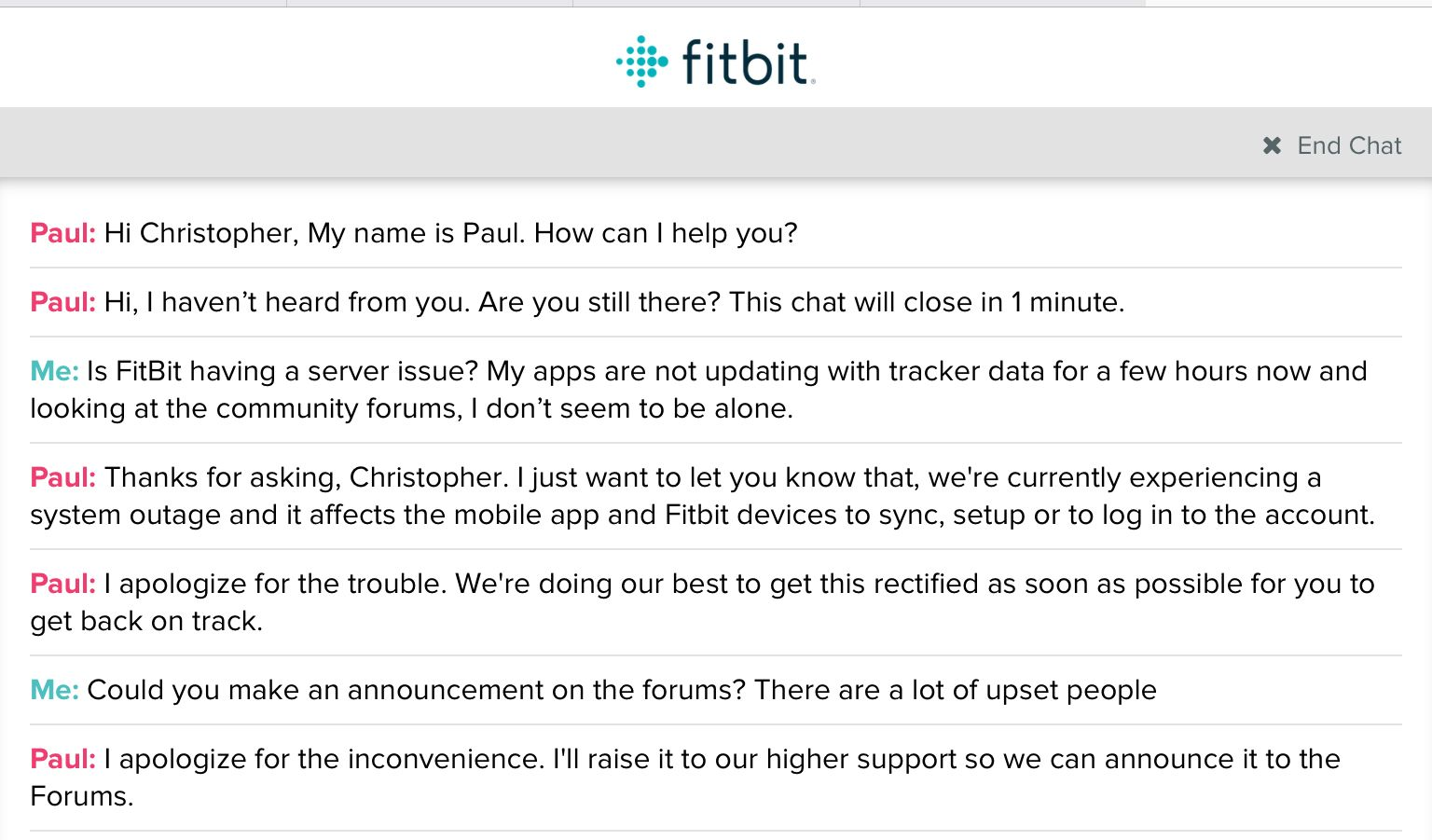 FitBit is having a server outage - Fitbit Community